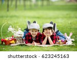 two children  boy brothers ... | Shutterstock . vector #623245163
