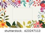 vintage flowers greeting card   Shutterstock . vector #623247113