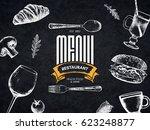 restaurant menu design. vector... | Shutterstock .eps vector #623248877
