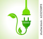 ecology icon with green leaves... | Shutterstock .eps vector #623253893