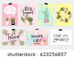 cute summer cards  posters set... | Shutterstock .eps vector #623256857
