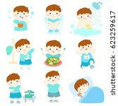 healthy hygiene for boy take a... | Shutterstock .eps vector #623259617