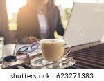 coffee time  beautiful woman... | Shutterstock . vector #623271383