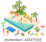 isometric island travel concept ... | Shutterstock .eps vector #623277233