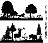 wild animals silhouettes in... | Shutterstock .eps vector #623284697