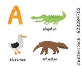 cute zoo alphabet in vector. a... | Shutterstock .eps vector #623284703