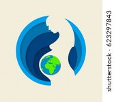 earth day paper cut out... | Shutterstock .eps vector #623297843