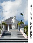 Small photo of The statue of Columbus in front of Government House in Nassau, the capital of the Bahamas.