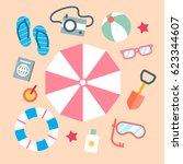 summer beach element. beach... | Shutterstock .eps vector #623344607