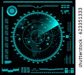 blue radar screen with planes... | Shutterstock .eps vector #623351333