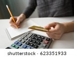 closeup of person counting... | Shutterstock . vector #623351933