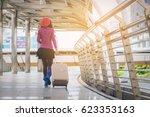woman tourist walking in... | Shutterstock . vector #623353163
