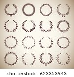 collection of sixteen circular... | Shutterstock .eps vector #623353943
