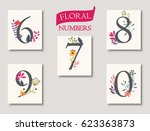 set of beautiful flowers and... | Shutterstock .eps vector #623363873