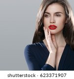 beauty woman face portrait.... | Shutterstock . vector #623371907