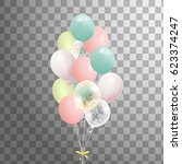 bunch of balloons isolated. ... | Shutterstock .eps vector #623374247