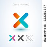 abstract origami letter x logo... | Shutterstock .eps vector #623381897