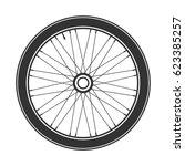bicycle wheel symbol vector.... | Shutterstock .eps vector #623385257