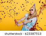 portrait of funny blond woman...   Shutterstock . vector #623387513