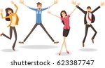 group of colorful happy people... | Shutterstock .eps vector #623387747
