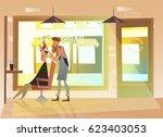 hairdresser shearing a hipster. ... | Shutterstock .eps vector #623403053