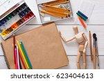 workplace of artist. paints ...   Shutterstock . vector #623404613