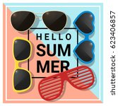 hello summer background with... | Shutterstock .eps vector #623406857