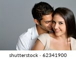 Young happy multiracial couple in love - stock photo