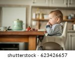 baby eating a pomegranate fruit ... | Shutterstock . vector #623426657
