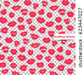 pink lips seamless pattern on a ... | Shutterstock .eps vector #623447027