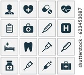 drug icons set. collection of... | Shutterstock .eps vector #623453087