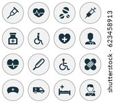 drug icons set. collection of... | Shutterstock .eps vector #623458913