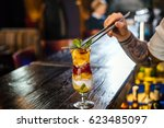 the barman has prepared a fruit ... | Shutterstock . vector #623485097