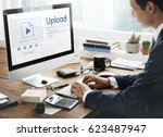 upload is a file transfer to... | Shutterstock . vector #623487947