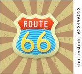 historic motorway symbol and... | Shutterstock .eps vector #623496053