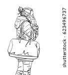 sketch of woman with big bag... | Shutterstock .eps vector #623496737