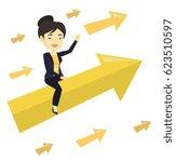 business woman sitting on arrow ... | Shutterstock .eps vector #623510597