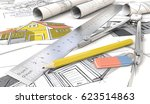 house sketches. yellow theme... | Shutterstock . vector #623514863