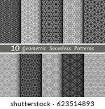 set of 10 seamless geometric... | Shutterstock .eps vector #623514893