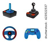 set of joysticks on a white... | Shutterstock .eps vector #623522537