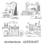 city landscapes line vector... | Shutterstock .eps vector #623526107