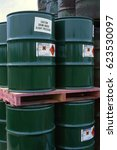 Small photo of Drums of mono isopropylamine in storage compound, Greater manchester, UK