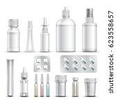 realistic empty pharmaceutical...   Shutterstock .eps vector #623558657