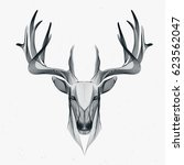futuristic illustration of deer ... | Shutterstock .eps vector #623562047