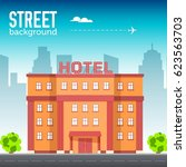 hotel building in city space... | Shutterstock .eps vector #623563703