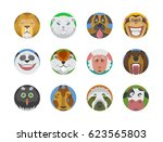 cute animals emotions icons... | Shutterstock .eps vector #623565803