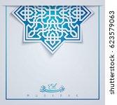eid mubarak greeting background ... | Shutterstock .eps vector #623579063