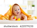 cute baby infant with toys... | Shutterstock . vector #623579153