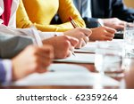 row of hand holding pen and... | Shutterstock . vector #62359264