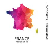 abstract polygon map   vector... | Shutterstock .eps vector #623592647